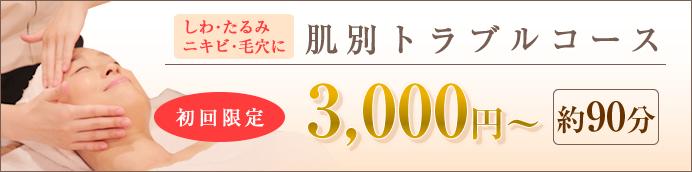 肌別トラブルコース初回限定3000円~